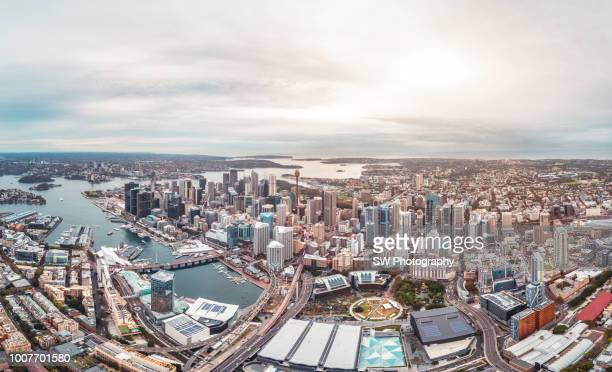 sydney downtown and darling harbor - darling harbour stock pictures, royalty-free photos & images