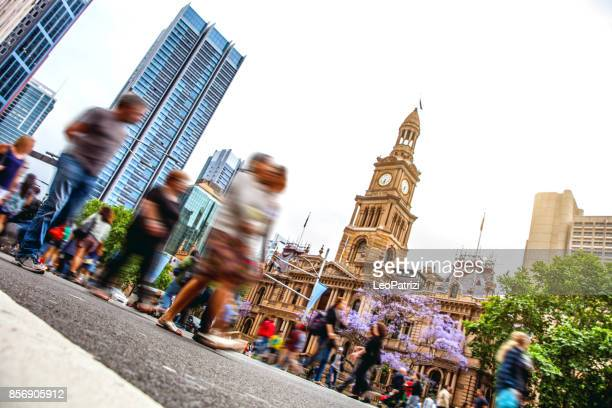 sydney downtown, blurred intersection people and traffic - local government building stock pictures, royalty-free photos & images