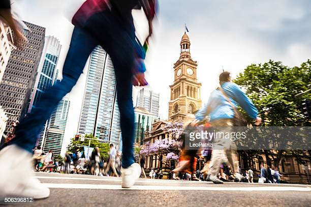 sydney downtown, intersection people and traffic - sydney stock pictures, royalty-free photos & images