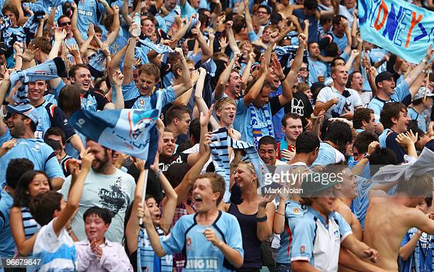 Sydney fans celebrate a goal during the round 27 A-League match between Sydney FC and the Melbourne Victory at Sydney Football Stadium on February...