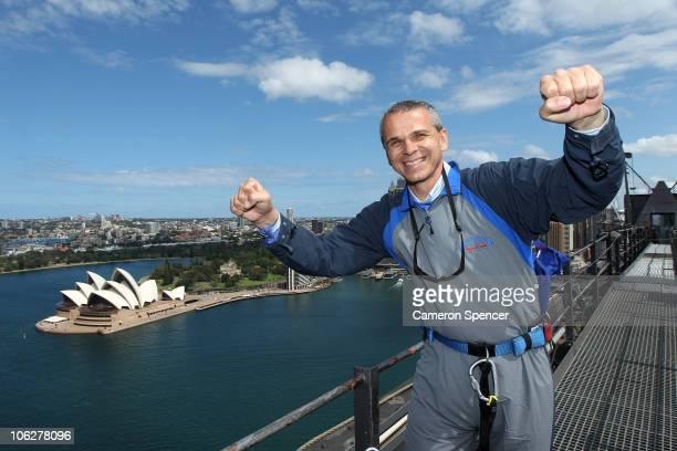 Sydney FC ALeague coach Vitezslav Lavicka poses on the top of the Sydney Harbour Bridge during his first 'Bridge Climb' on October 28 2010 in Sydney...