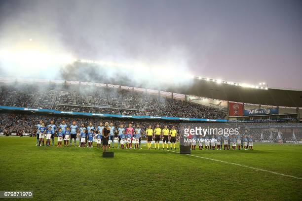 Sydney FC and Melbourne Victory line up before the 2017 ALeague Grand Final match between Sydney FC and the Melbourne Victory at Allianz Stadium on...