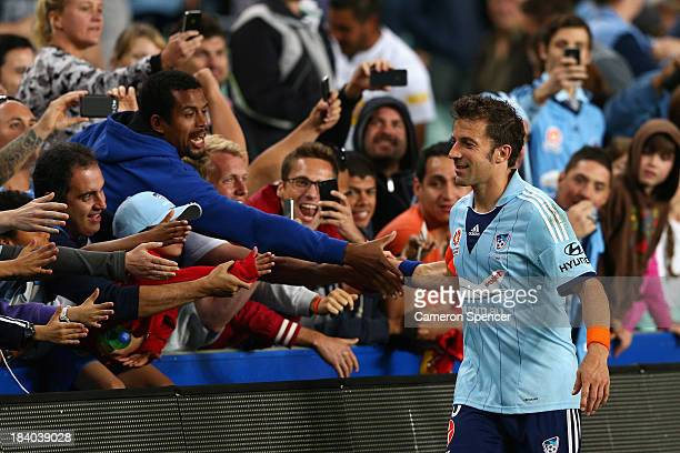 Sydney FC captain Alessandro Del Piero thanks fans after winning the round one ALeague match between Sydney FC and the Newcastle Jets at Allianz...
