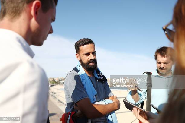 Sydney FC captain Alex Brosque speaks to media during a Sydney FC ALeague Semi Final media opportunity at Bondi Beach on April 23 2018 in Sydney...