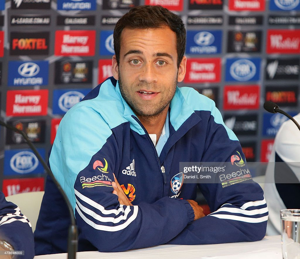 Sydney FC Captain, Alex Brosque speaks to the media during the A-League Grand Final press conference at Federation Square on May 16, 2015 in Melbourne, Australia.