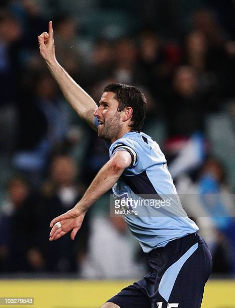 Sydney FC captain Terry McFlynn celebrates scoring a goal during the round one A-League match between Sydney FC and Melbourne Victory at the Sydney...