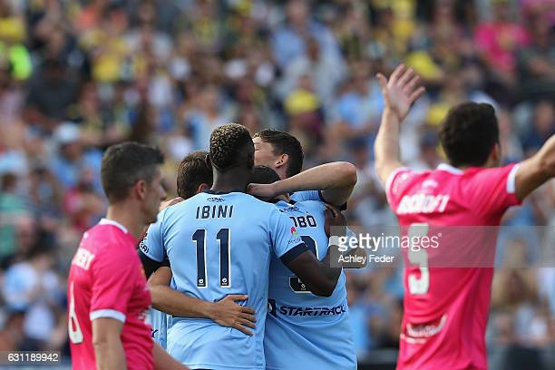 Sydney FC celebrate a goal from Bobo during the round 14 A-League match between the Central Coast Mariners and Sydney FC at Central Coast Stadium on...
