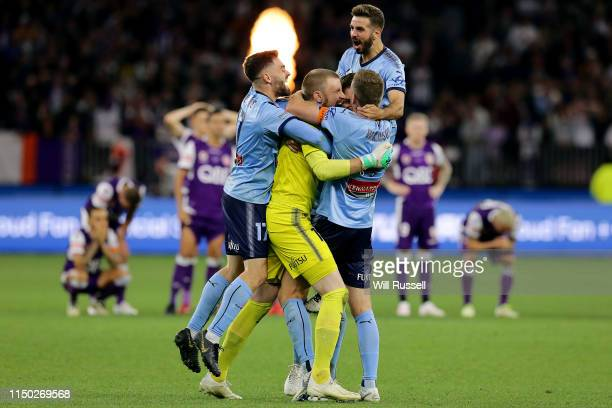Sydney FC celebrate after defeating Perth Glory on penalties during the 2019 ALeague Grand Final match between the Perth Glory and Sydney FC at Optus...