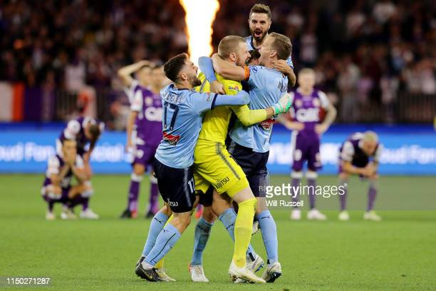 Sydney FC celebrate after defeating Perth Glory on penalties during the 2019 A-League Grand Final match between the Perth Glory and Sydney FC at...