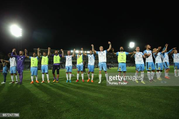 Sydney FC celebrate the win during the round 24 A-League match between the Central Coast Mariners and Sydney FC at Central Coast Stadium on March 24,...