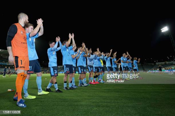 Sydney FC celebrate the win with fans during the round 20 A-League match between the Central Coast Mariners and Sydney FC at Central Coast Stadium on...