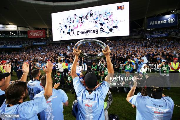 Sydney FC celebrate victory after the 2017 A-League Grand Final match between Sydney FC and the Melbourne Victory at Allianz Stadium on May 7, 2017...
