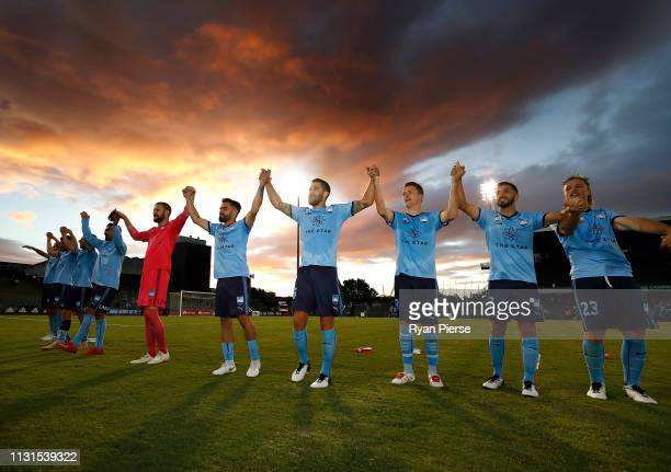 Sydney FC celebrate victory after the round 20 ALeague match between Sydney FC and the Wellington Phoenix at Campbelltown Stadium on February 23 2019...