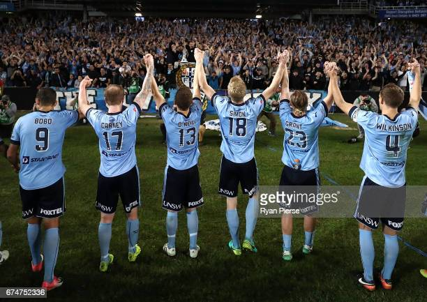 Sydney FC celebrate victory during the ALeague Semi Final match between Sydney FC and the Perth Glory at Allianz Stadium on April 29 2017 in Sydney...