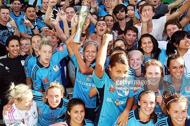 Sydney FC celebrate with fans after winning the WLeague Grand Final between the Melbourne Victory and Sydney FC at AAMI Park on January 27 2013 in...