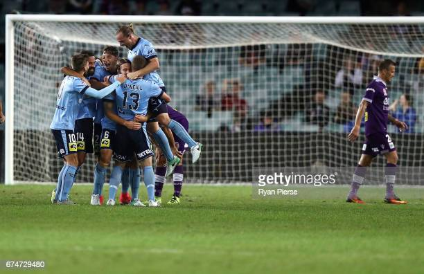 Sydney FC celebrates after Joshua Brillante of Sydney FC scored their teams first goal during the ALeague Semi Final match between Sydney FC and the...