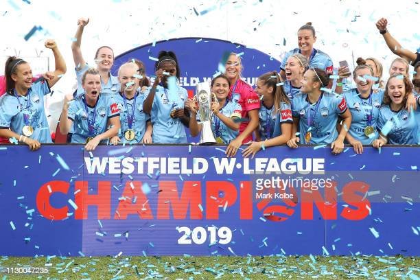 Sydney FC celebrates with the trophy after victory during the WLeague Grand Final match between Sydney FC and Perth Glory at Netsrata Jubilee Oval on...