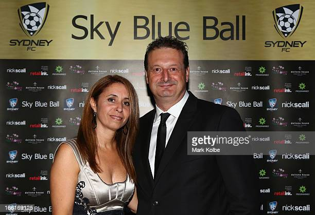 Sydney FC CEO Tony Pignata and his wife pose at the Sydney FC Sky Blue Ball at Doltone House on April 9 2013 in Sydney Australia