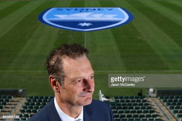 Sydney FC CEO Tony Pignata poses during a Sydney FC ALeague media opportunity announcing their new logo at Allianz Stadium on May 17 2017 in Sydney...