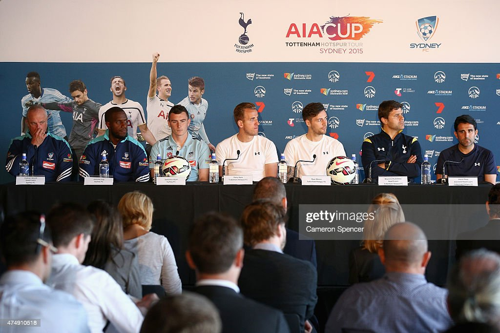 Sydney FC coach and players and Tottenham players and coaches attend a Tottenham Hotspur Official Arrival Media Conference at Overseas Passenger Terminal on May 28, 2015 in Sydney, Australia. Hotspur are playing Sydney FC in Sydney on Saturday, May 30th, 2015.