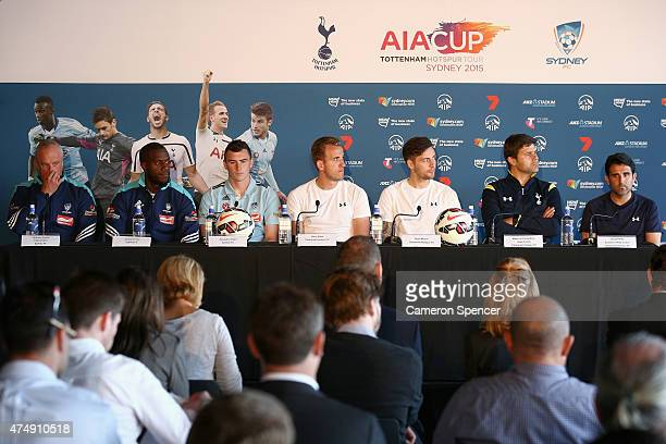 Sydney FC coach and players and Tottenham players and coaches attend a Tottenham Hotspur Official Arrival Media Conference at Overseas Passenger...