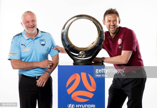 Sydney FC coach Graham Arnold and Wanderers coach Tony Popovic pose during the ALeague Media Day on September 26 2017 in Sydney Australia