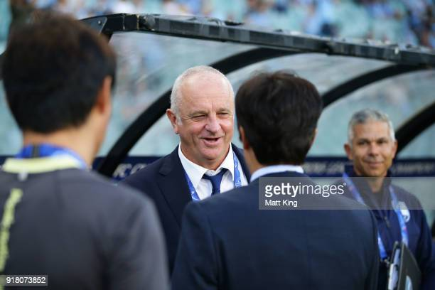Sydney FC coach Graham Arnold greets Suwon Bluewings coach Seo Jungwon during the AFC Asian Champions League match between Sydney FC and Suwon...