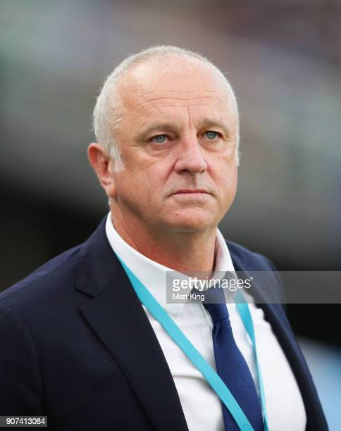 Sydney FC coach Graham Arnold looks on during the round 17 ALeague match between Sydney FC and the Central Coast Mariners at Allianz Stadium on...