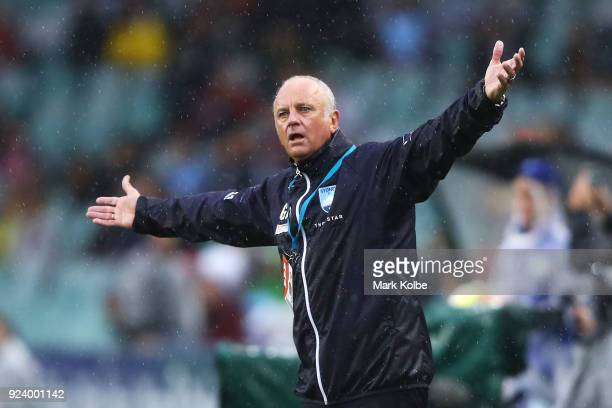 Sydney FC coach Graham Arnold shows his frustration during the round 21 ALeague match between Sydney FC and the Western Sydney Wanderers at Allianz...