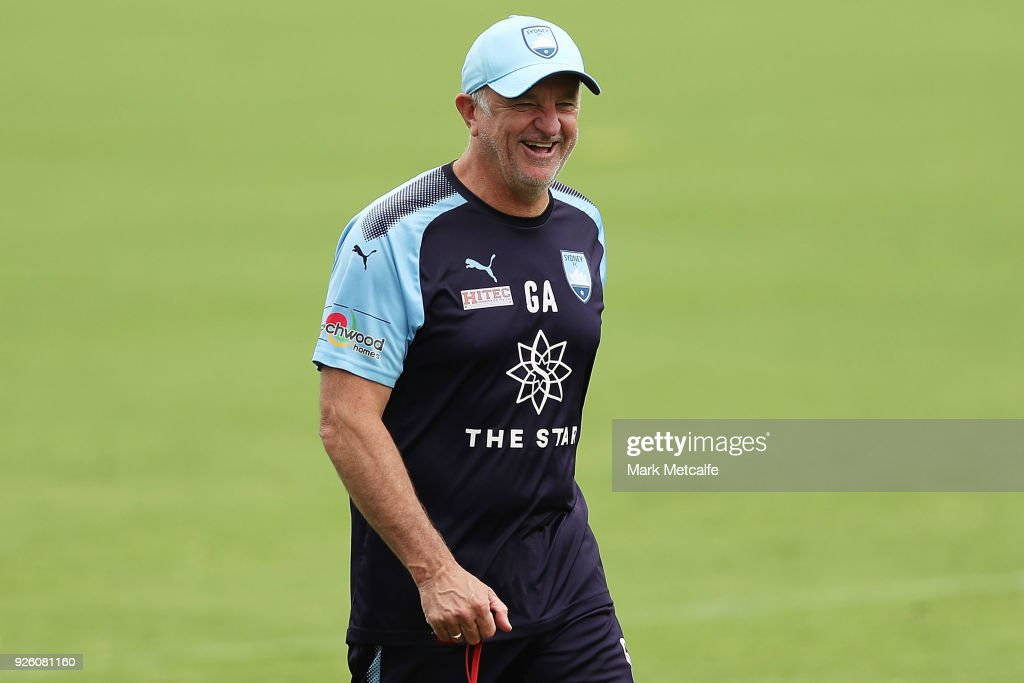 Sydney FC coach Graham Arnold smiles during a Sydney FC A-League training session at Macquarie Uni on March 2, 2018 in Sydney, Australia.
