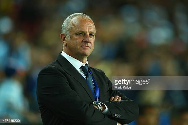 Sydney FC coach Graham Arnold watches on during the round two ALeague match between Sydney FC and the Western Sydney Wanderers at Allianz Stadium on...
