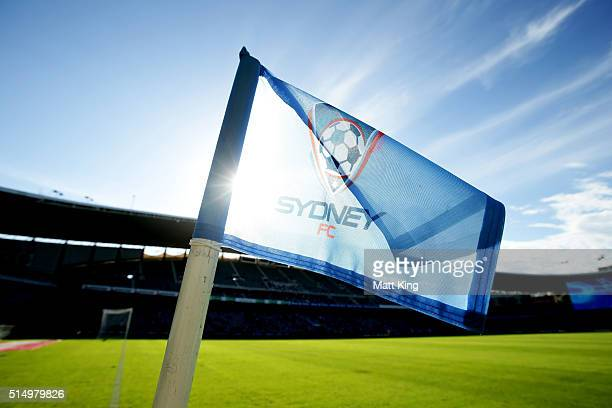 Sydney FC corner flag is seen before during the round 23 ALeague match between Sydney FC and the Wellington Phoenix at Allianz Stadium on March 12...