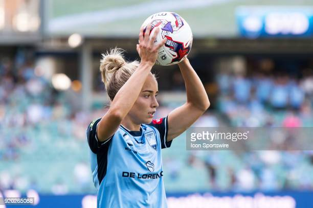 Sydney FC defender Georgia YeomanDale throws the ball in at the WLeague Soccer Grand Final between Sydney FC and Melbourne City at Allianz Stadium in...