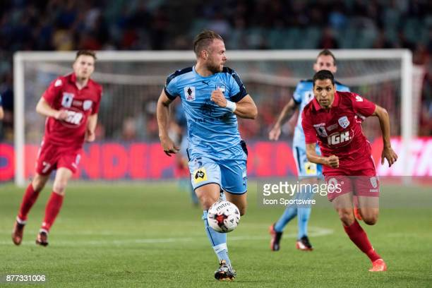 Sydney FC defender Jordy Buijs takes the ball downfield at the FFA Cup Final Soccer between Sydney FC and Adelaide United on November 21 2017 at...