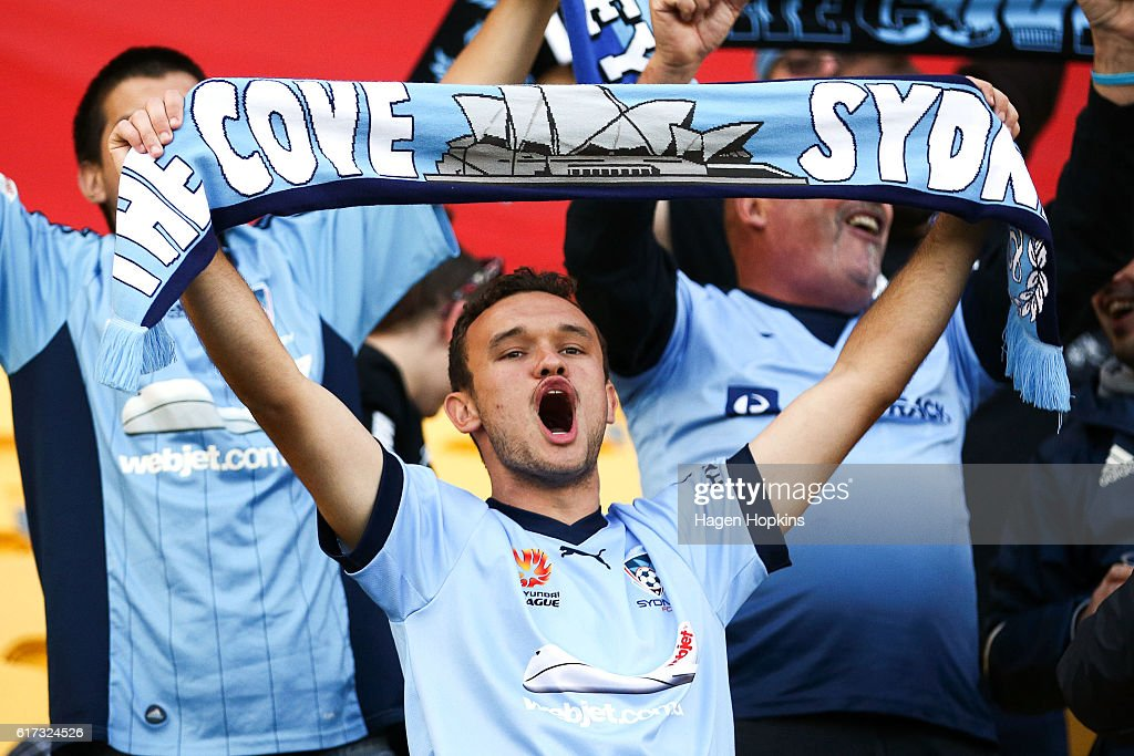 A Sydney FC fan shows his support during the round three A-League match between the Wellington Phoenix and Sydney FC at Westpac Stadium on October 23, 2016 in Wellington, New Zealand.