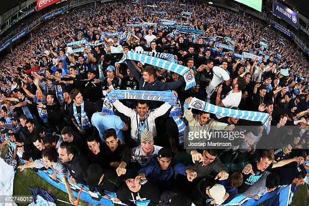 Sydney FC fans cheer during the ALeague Semi Final match between Sydney FC and Adelaide United at Allianz Stadium on May 9 2015 in Sydney Australia