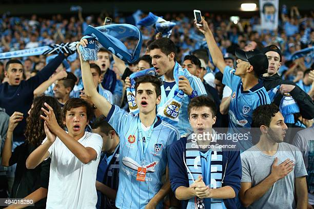 Sydney FC fans enjoy the atmosphere during the round three ALeague match between Sydney FC and Western Sydney Wanderers at Allianz Stadium on October...