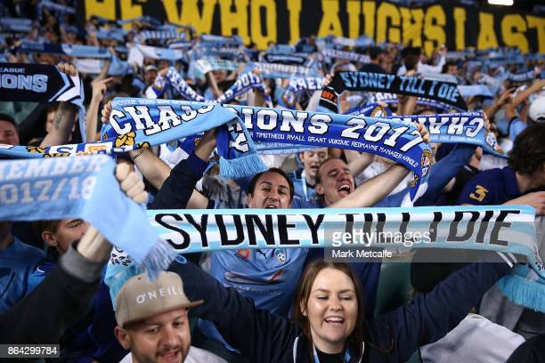 Sydney FC fans in The Cove are seen during the round three ALeague match between Sydney FC and the Western Sydney Wanderers at Allianz Stadium on...