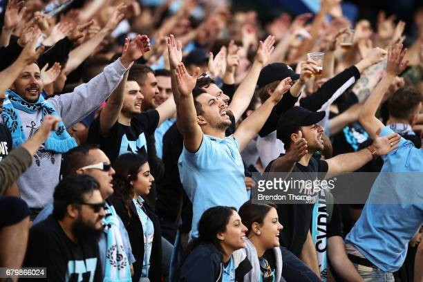 Sydney FC fans show their colour during the 2017 ALeague Grand Final match between Sydney FC and the Melbourne Victory at Allianz Stadium on May 7...