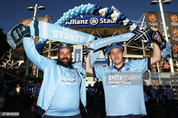Sydney FC fans show their colour prior to the 2017 ALeague Grand Final match between Sydney FC and the Melbourne Victory at Allianz Stadium on May 7...