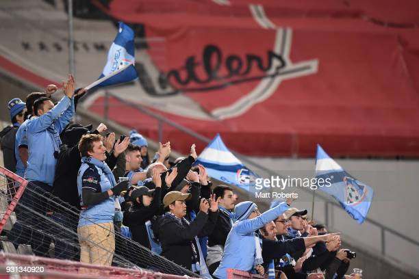 Sydney FC fans show their support during the AFC Champions League Group H match between Kashima Antlers and Sydney FC at Kashima Soccer Stadium on...