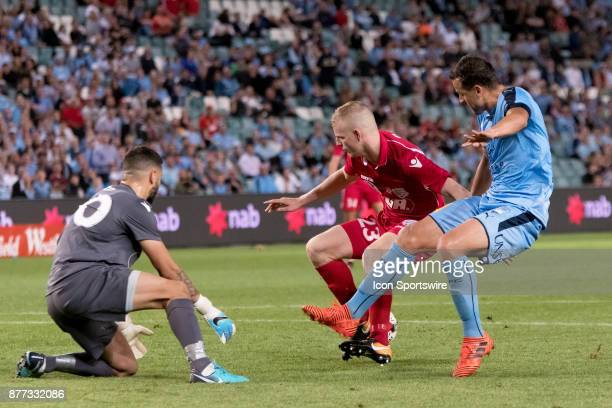Sydney FC forward Bobo almost gets the ball past Adelaide United goalkeeper Paul Izzo at the FFA Cup Final Soccer between Sydney FC and Adelaide...