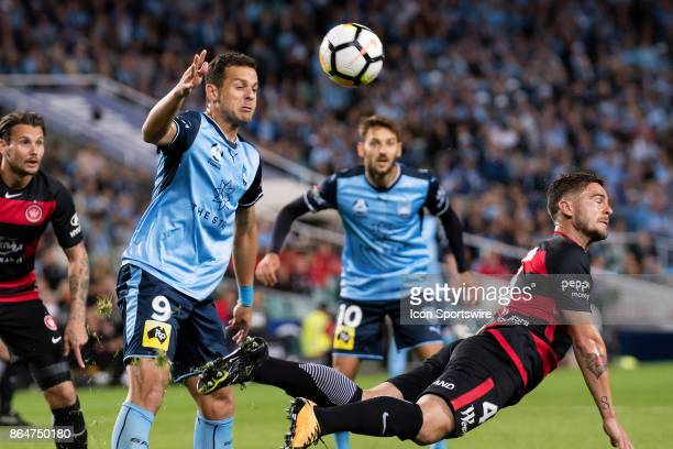Sydney FC forward Bobo and Western Sydney Wanderers defender Josh Risdon battle for the ball at the Hyundai ALeague match between Sydney FC and...