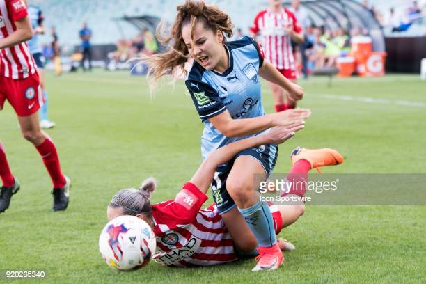 Sydney FC forward Julia Vignes and Melbourne City defender Alanna Kennedy come together at the WLeague Soccer Grand Final between Sydney FC and...