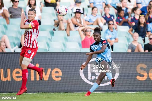 Sydney FC forward Princess Ibini kicks the ball downfield at the WLeague Soccer Grand Final between Sydney FC and Melbourne City at Allianz Stadium...