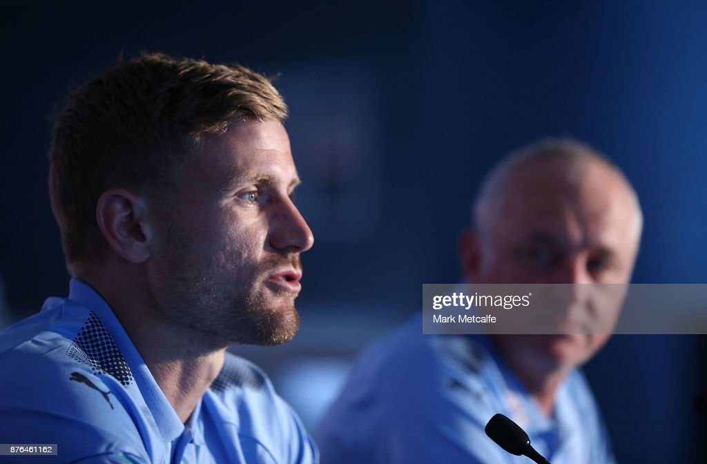 Sydney FC goalkeeper Andrew Redmayne speaks to media during a press conference at Allianz Stadium on November 20, 2017 ahead of tomorrow's FFA Cup Final, in Sydney, Australia.