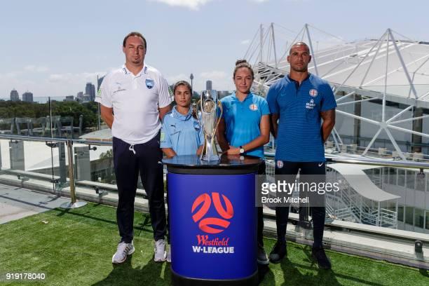 Sydney FC Head Coach Ante Juric Sydney FC Captain Teresa Polias Melbourne City key player Kyah Simon and Melbourne City FC Head Coach Patrick...