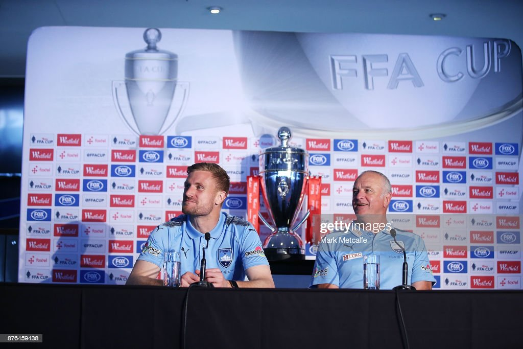 Sydney FC head coach Graham Arnold and goalkeeper Andrew James Redmayne speak to the media during a press conference at Allianz Stadium on November 20, 2017 ahead of tomorrow's FFA Cup Final, in Sydney, Australia.