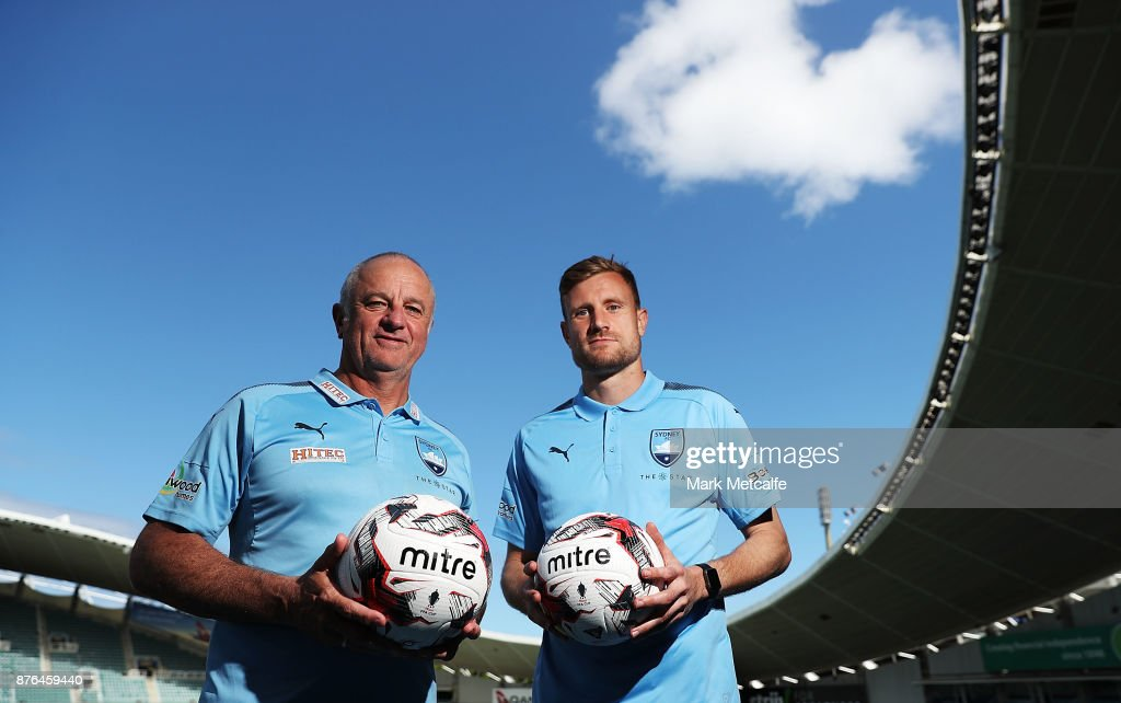 Sydney FC head coach Graham Arnold and goalkeeper Andrew Redmayne pose during a press conference at Allianz Stadium on November 20, 2017 ahead of tomorrow's FFA Cup Final, in Sydney, Australia.