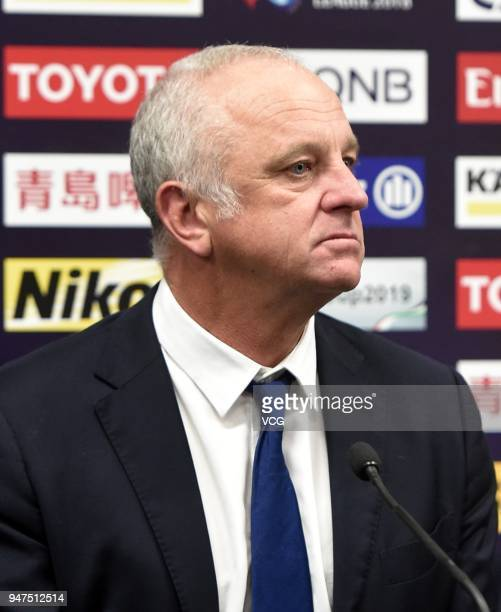 Sydney FC head coach Graham Arnold attends the press conference after the AFC Champions League Group H match between Sydney FC and Shanghai Shenhua...